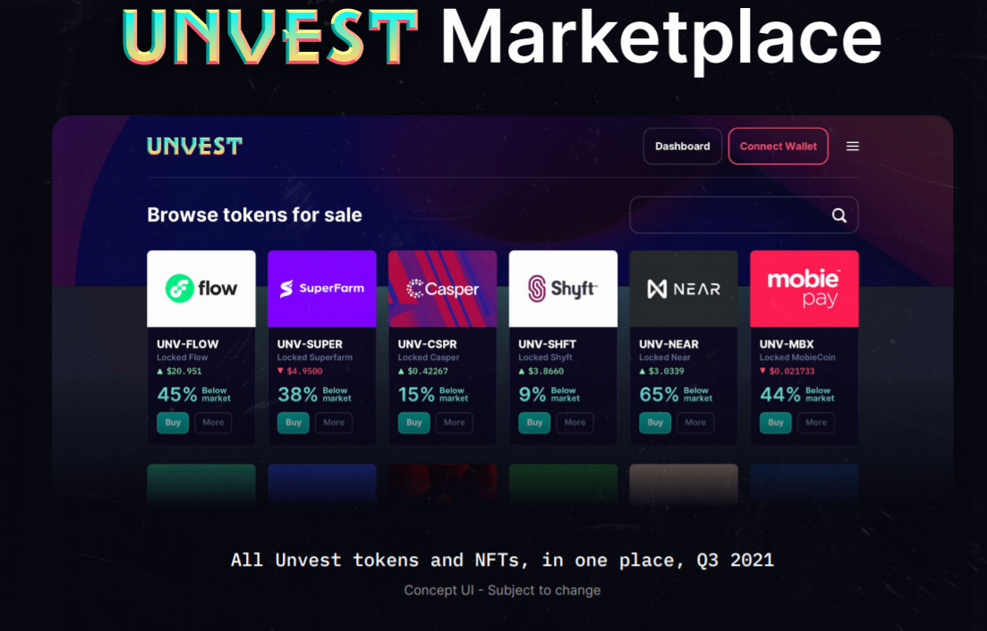 unvest . exchange interface