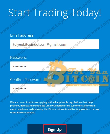 Register to open a Bittrex account.  Photo 2