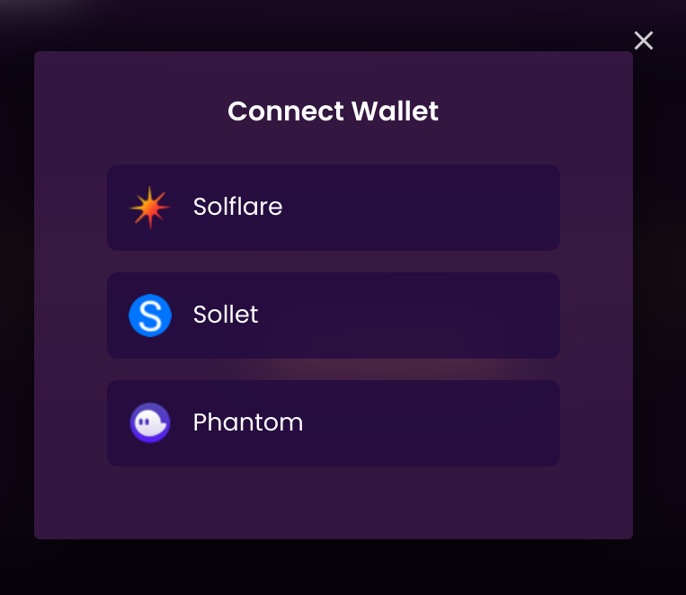 choose a connected wallet