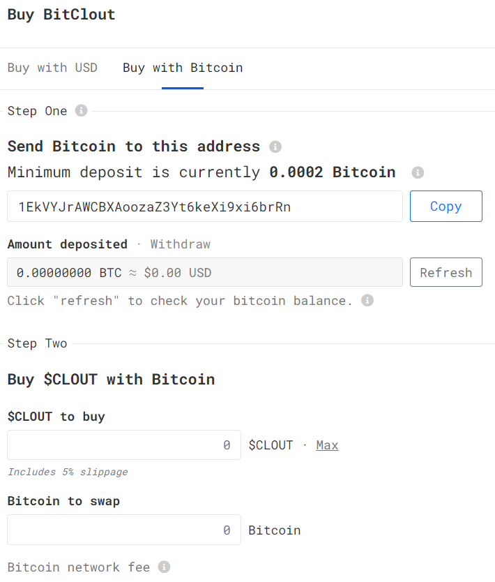 deposit BTC into wallet and swap to BTCLT